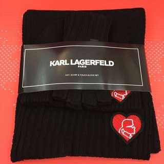 😍Karl Lagerfeld😍女裝頸巾&冷帽&手襪Three-Piece Karl King of Hearts Cold Weather Set