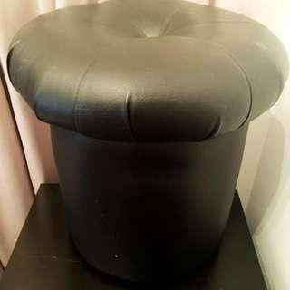 Footstool Black PVC Leather Chair