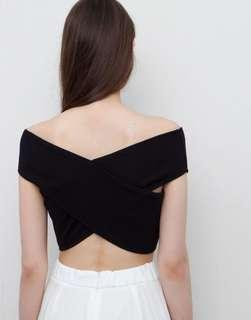 Pull and Bear Crossover Crop Top in Black