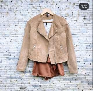 Divided H&M Camel Suede Biker's Jacket