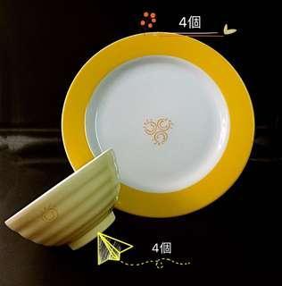🚚 全新百貨公司贈碗12cm(4入)、盤23cm(4入)組