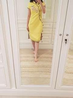 Embroidered yellow Qipao