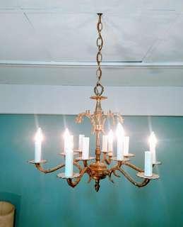 Vintage Americana。復古事 1930年代 黃銅雕花吊燈