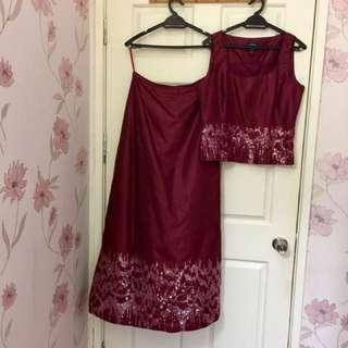 LAURA ASHLEY 2 piece Sequin Dinner/ Dance Outfit