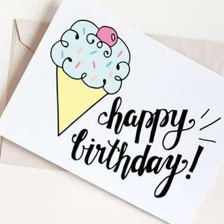 Personalized Birthday Tags 20pcs Notecards
