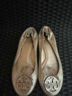 Original!! Tory burch ( silvergold dollshoes)