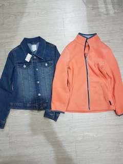 🚚 迪卡儂女童刷毛外套+全新PLACE牛仔外套夾克-14號