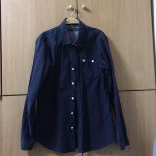 韓國襯衫 深藍色
