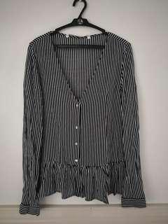 Zara Vertical Stripes Buttondown top