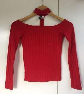 H&M red off shoulder fit top