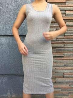 grey fit midi dress