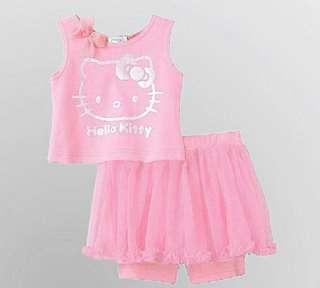 Hello kitty cotton top with tutu short clearance
