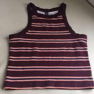 H&M maroon striped crop top