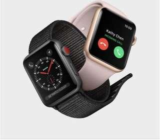 Apple Watch 3 gps+cellular 38mm 黑/白 for iphone 未拆封 原價減700