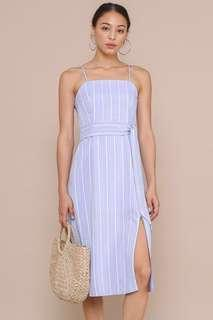 YANA STRIPE LINEN MIDI DRESS (PERIWINKLE)