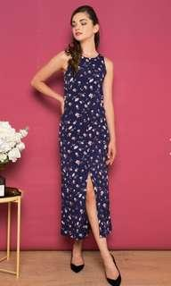 ADALYNN FLORAL SLIT MAXI DRESS IN NAVY