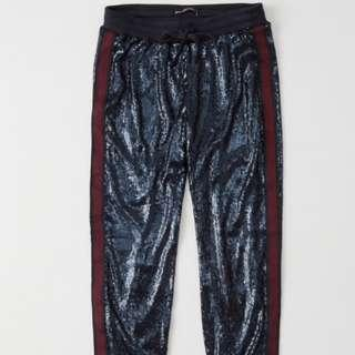 Abercrombie & Fitch (A&F) NAVY SEQUIN JOGGERS