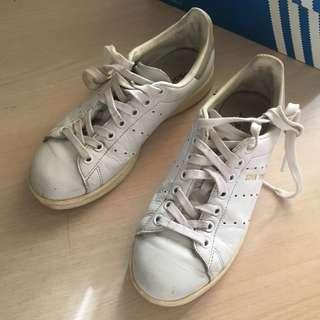 🚚 Adidas Stan Smith 灰尾奶油底 皮革燙金 US7