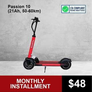 Passion 10 (21AH, 50-60km) Electric Scooter