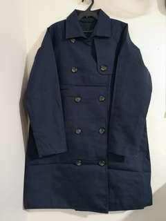 Gu Navy Blue Trench Coat