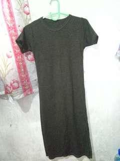 Ribbed T-shirt Dress with Side Slit on left side (Olive Green)