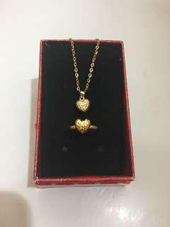 Valentines Highlight - 18k Saudi Gold Heart Jewelry Set