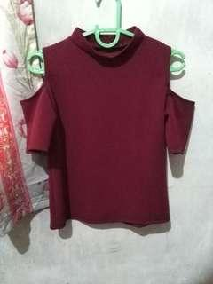 Cold Shoulder Turtleneck Blouse (Maroon)