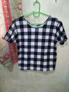 Black & White Checkered Loose Blouse