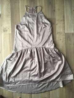 Drop waist cut in Satin pale Lavender Dress
