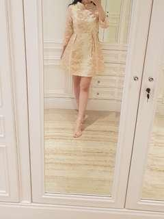Embroidered gold pink shimmered cheongsam