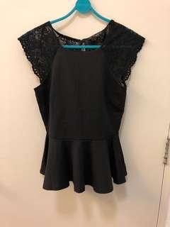 Dorothy Perkins Black Peplum Top