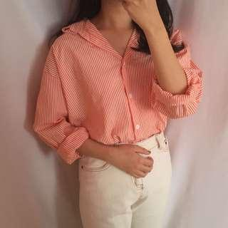 🚚 橘子條紋襯衫