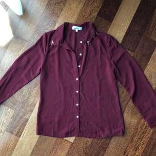 Pre-loved: Embroider Collar Maroon Blouse #CNY888
