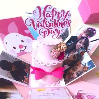 Happy valentine day 3 Layers Winnie the Pooh piglet