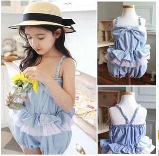 Girl cotton jean romper playsuit