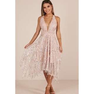 Showpo Join the Party Dress in Nude Sequin