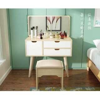 New Square Curve Vanity Table and Storage With Chair