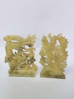 Dragon and pheonix jade antique piece