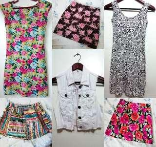 Dresses, skirts, shorts and tops