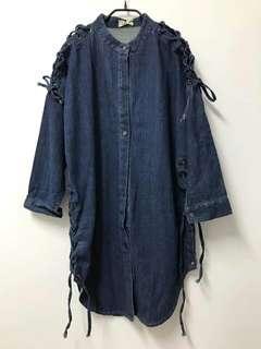 🚚 泰國帶回✨吊牌未拆oversize高磅數厚磅牛仔綁帶長版襯衫連身裙洋裝