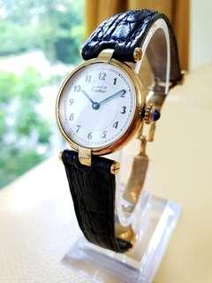 Cartier Paris Vermeil Quartz Argent 925 Plaque Org 20m Swiss Made