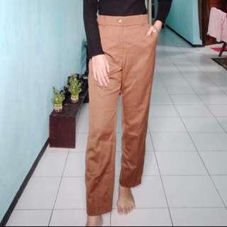 Baggy Pants Choco Celana Bahan Brown Coklat