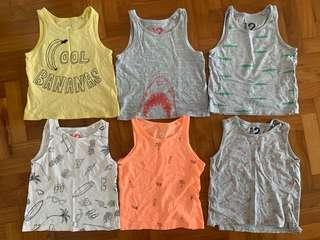 6x Cotton On Boys Singlets Tanks Sleeveless Tops (size 2)