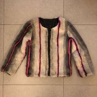 J.crane Korea faux fur jacket fendi style 灰色毛毛外套