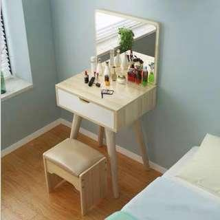 Scandanavian Vanity Table and Single Storage with Chair