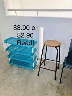 Kallang cheap shoe rack and high stool