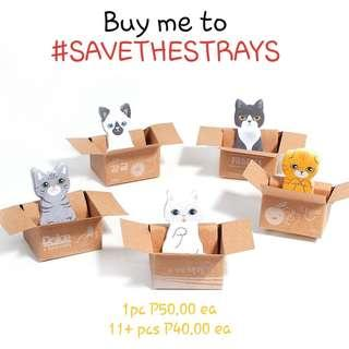 Kitty in Box Cat Sticky Note Memo Tab Post Its for a Cause