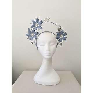 Ladies Powder Blue & Silver Leather Headband Halo Fascinator for Races, Wedding