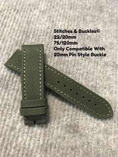 22/20mm Military Green Canvas Strap for Seiko Divers Breitling Models