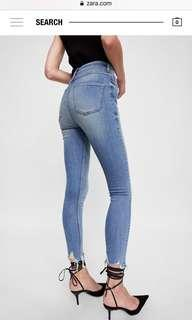 Zara high waist knee ripped jeans